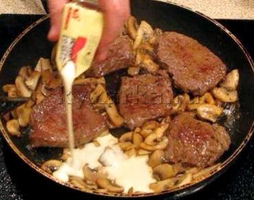 Рецепт говядина в сливочном соусе с грибами