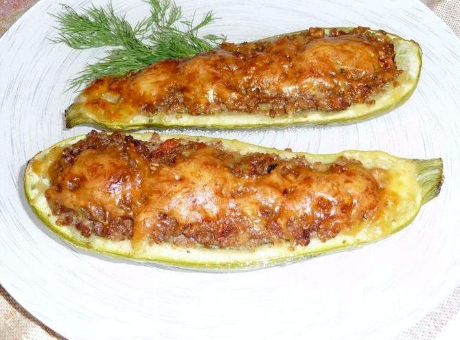 Рецепт кабачки лодочки с фаршем в духовке