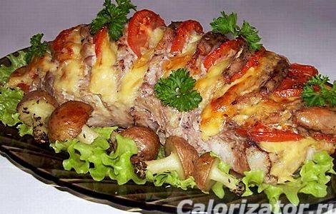 Рецепт мясо в духовке с сыром и помидорами