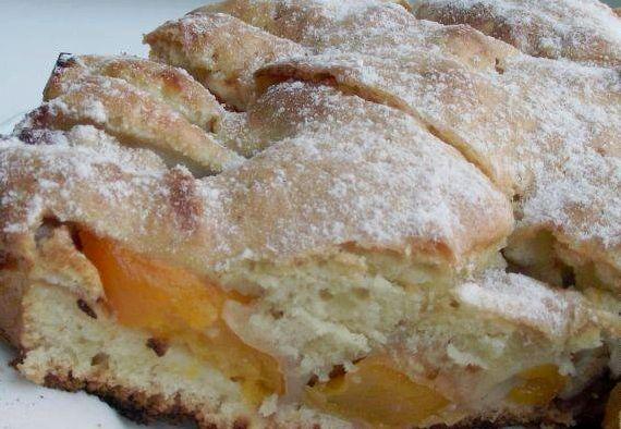 Рецепт пирог с персиками свежими с фото