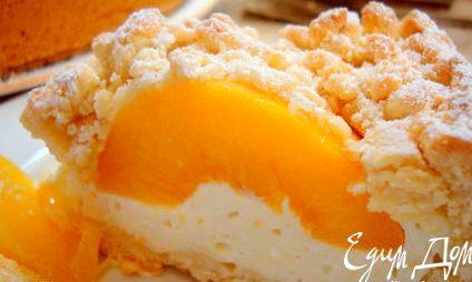 Рецепт пирог творожный с консервированными персиками с фото