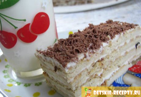 Рецепт торта из печенья без выпечки со сметаной