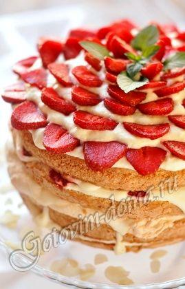 Рецепт торта с клубникой и взбитыми сливками