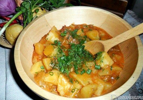 Рецепт тушеной картошки с тушенкой в кастрюле