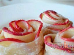 Розочки с яблоками из слоеного теста рецепт