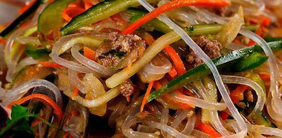 Салат фунчоза с овощами и курицей рецепт с фото