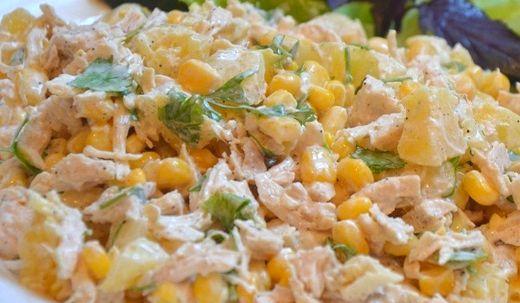 Салат из курицы с ананасом рецепт и кукурузой