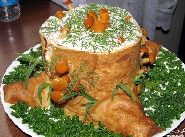 Салат пенек из блинов с ветчиной и грибами пошаговый рецепт