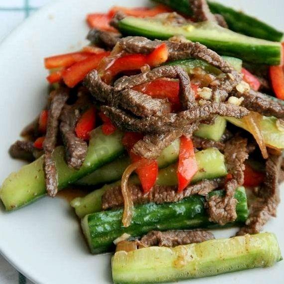 Салат с говядиной и огурцами рецепт с фото