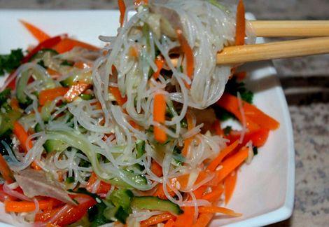 Салат с колбасой и фунчозой рецепт с фото