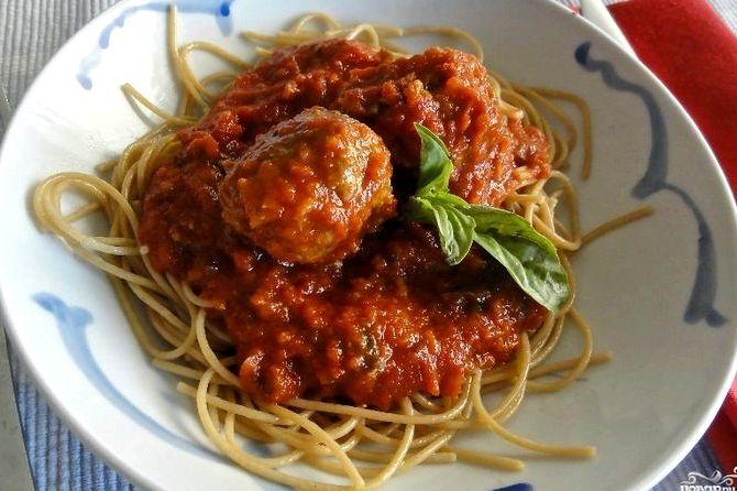 Спагетти с фрикадельками в томатном соусе рецепт с фото