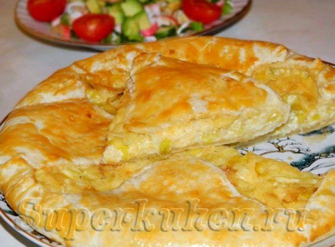 Сырный пирог из слоеного теста рецепт с фото