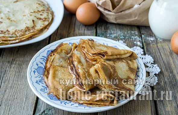 Тонкие блины на кефире с кипятком рецепт с фото пошагово