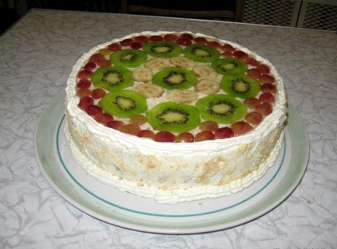 Торт бисквитный с фруктами рецепт с фото пошагово в домашних условиях