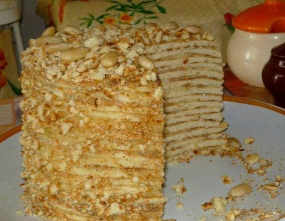 Торт на сковороде со сгущенкой пошаговый рецепт с фото