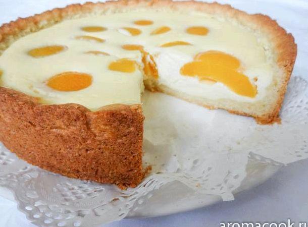Творожный пирог с консервированными персиками рецепт с фото