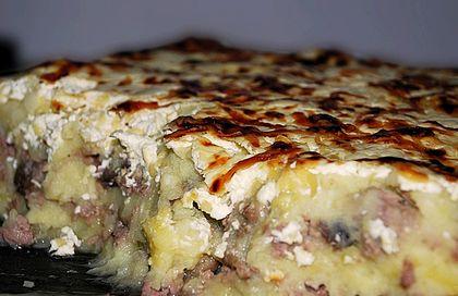 Запеканка из картофеля с фаршем с грибами в духовке рецепт фото