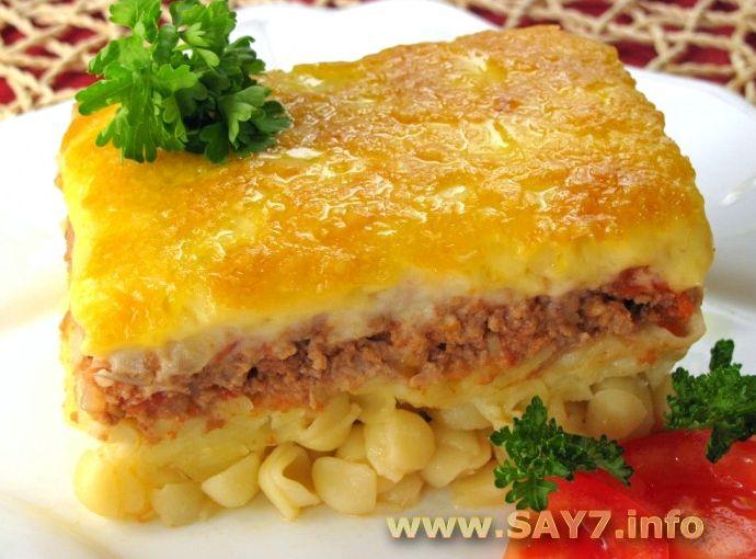 Запеканка с макаронами и фаршем в духовке рецепт